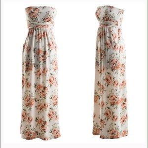 Soft, strapless peach floral maxi dress w/pockets